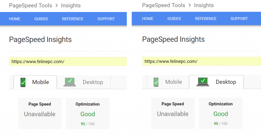 felinepc.com Google PageSpeed Insights Test