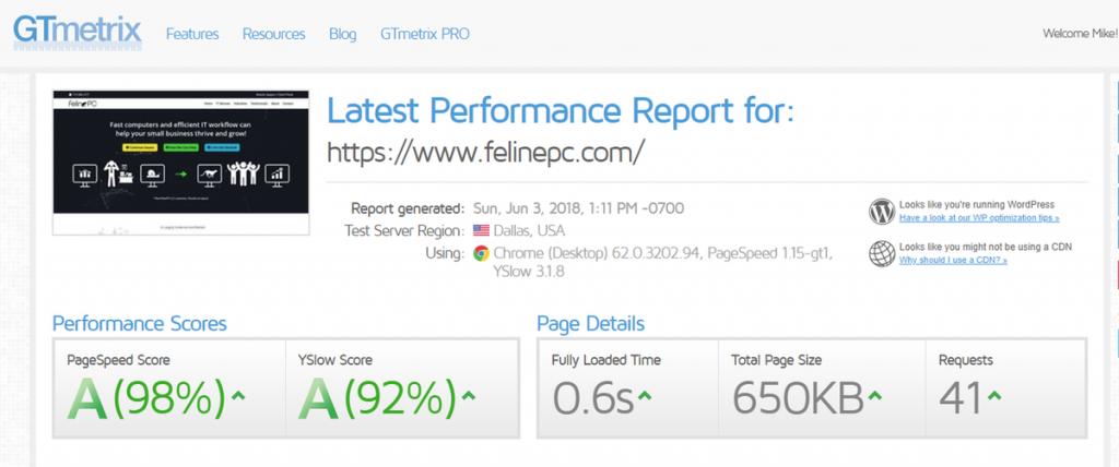 felinepc.com GTMetrix speedtest